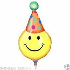 """GIANT 39"""" FOIL BALLOON  BIRTHDAY PARTY  SMILEY FACE EMOJI - PARTY HAT"""