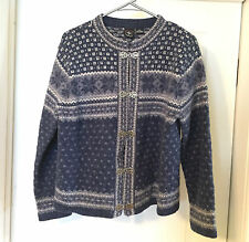 XL Sweater SKYR Women's Blue White 100% Wool Norwegian Nordic Clasp Cardigan