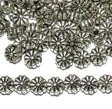 MBL7136L2 Antiqued Silver 6mm Flat Scalloped Daisy Flower Metal Beads 100/pkg