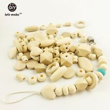 150pc Organic Wood Natural Wooden Beads Diy Pacifier Clip Diy maker for baby New