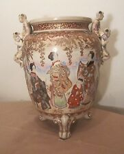 very large antique handmade Japanese satsuma porcelain moriage vase urn planter