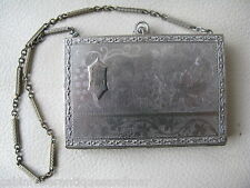 Antique Silver T Engraved Floral Grape Vine Lipstick Dance Compact Monogram TW
