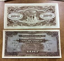 {BJSTAMPS} WW2  JAPANESE INVASION MONEY MALAYA ONE HUNDRED DOLLARS, M8 EF