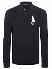 MENS RALPH LAUREN BLACK BIG PONY LONG SLEEVE POLO SHIRT SIZE LARGE L