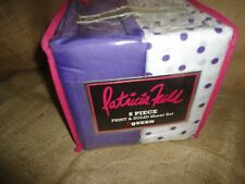"""PATRICIA FIELD (8PC) QUEEN SHEET SET PURPLE POLKA DOTS GIRLS 100% POLYESTER 14"""""""