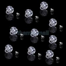 10pcs Clear Ribbed Flower Cabinet Drawer Knob Cupboard Jewelry Box Pull Handle