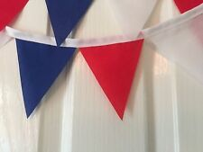RED WHITE AND BLUE HANDMADE MINI FABRIC BUNTING.celebrate the queens birthday