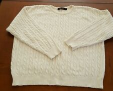 Brooks Brothers White cable knit mens sweater Shirt Crew Cotton SZ XL Chunky