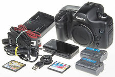 Canon EOS 5D DSLR w. 2x battery, 2x2Gb CF, 6,3k clicks +Extended FW *excellent*