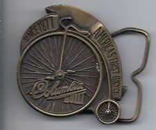 WOW Vintage 1974 Columbia America`s First Bicycle Brass Belt Buckle Big Wheel