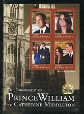 SIERRA LEONE  ENGAGEMENT OF PRINCE WILLIAM & KATE MIDDLETON  IMPERF SHEET II  NH