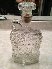 Vintage Old Glass Ornate Whiskey Bottle Decanter Clear Cork Top Cool Empty