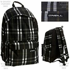 O'NEILL BLACK CHECKED BACKPACK MENS BOYS RUCKSACK SPORTS SCHOOL STUDENT BAG