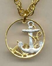 """Gold &Silver Cut Out Spanish """"Anchor & Ship's Wheel"""" Coin Necklace/Made in USA"""