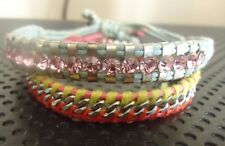 "Chan Luu 2 Single Wrap Cord Braclets W/ Sterling Silver& Pink Crystals 7""-9"""
