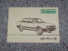 1984 Alfa Romeo Giulietta 1.6 1.8 2.0 Original Owners Owner's User Manual RARE!