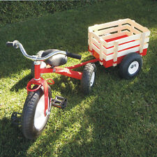 Classic Tricycle with Wagon Set Pull Along Trike Toy Outdoors Kids Exercise