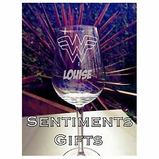 Engraved Wonder Woman Wine Glass - New - Personalised