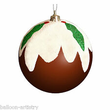 3 Christmas Party Festive Pudding Novelty Tree Baubles Decorations