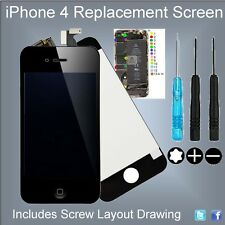 iPhone 4 Replacement New LCD Touch Screen - Complete With Screw Guide & Tools