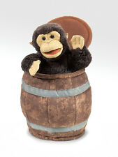 Monkey in Barrel Hand Puppet, Play Peekaboo, Moveable Mouth & Legs, MPN 2972