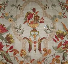 KRAVET LEE JOFA FRENCH COUNTRY FLORAL MEDALLIONS LINEN FABRIC 10 YARDS BEIGE