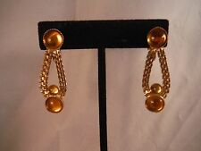 VINTAGE AMBER GLASS CABOCHON SHOULDER DUSTER EARRINGS COSTUME JEWELRY BOX J
