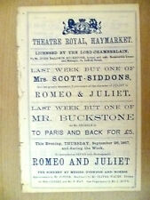 1867 Theatre Royal Programme Shakespeare's ROMEO AND JULIET- Mr Howe,S Siddons