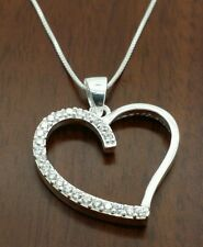 Valintine gift 925 sterling silver c z heart pendant  necklace.