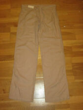 next light brown linen blend parallel trousers size 8 long brand new with tags