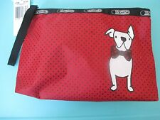 NEW LESPORTSAC Cosmetic Make Up Bag Essential Wristlet Frenchie Dog Red Black