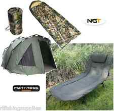 NGT CARP FISHING 2 MAN FORTRESS BIVVY + 6 LEG RECLINER BEDCHAIR + SLEEPING BAG
