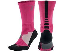 NEW Nike HYPER Elite Socks LARGE 8-12 PINK BLACK CANCER KAY YOW Cushioned