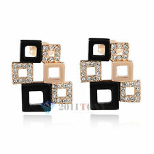 18K Rose Gold Plated Austria Crystal Black&Gold Squares Stud Earrings Jewelry