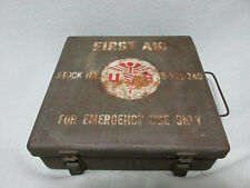 RARE Untouched LARGE Military USA First Aid Field Metal Box Complete w Supplies