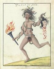 Demonic Woman Snakes Severed Head Witch Fire 1766 7x5 Inch Reprint Print