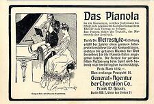 Die Metrostyle-Pianola *  Frank W.Hessin Berlin * Klassische Annonce von 1905