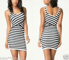 NWT bebe XXS XS S black white striped contrast bodycon top dress cross back