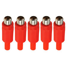 RCA Phono Female Inline Cable Socket Solder Connector Red x 5