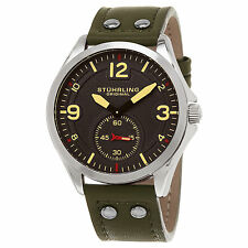 Stuhrling Original Men's 684.03 Tuskegee Quartz Green Leather Strap Watch