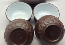 Chinese YiXing ZiSha Lotus Dark Brown Glazed clay Teacup Bowl-cup cup 40ml *4pcs