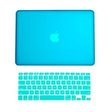 2 in1 Rubberized AQUA BLUE Hard Case for Macbook White A1342 with Keyboard Cover