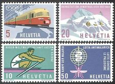 Switzerland 1962 Trains/Railways/Malaria/Health/Rowing/Sport/Insect 4v (n27384)