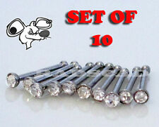 10 x CLEAR CRYSTAL BULK LOT NOSE RING JEWEL STRAIGHT BONE STUD BAR PIERCING N70