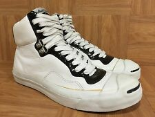 RARE�� Converse Jack Purcell IT HI Fashion Sneakers White Leather Black Sz 8 Men