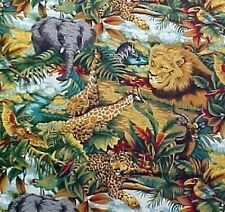 OUT OF AFRICA-- AFRICAN ANIMALS AND PLANTS ON COTTON FABRIC BTY