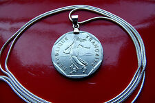"Beautiful French Maiden Coin Pendant on a  30"" 925 Sterling Silver Snake  Chain"