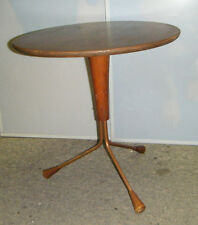 GREAT VTG 1960s CHARLES EAMES MCM PANTON ROUND WALNUT SIDE TABLE 3 TUBULAR LEGS
