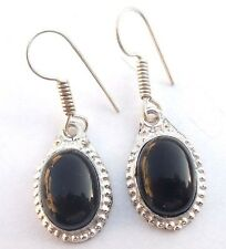 LATEST JEWELRY BLACK ONYX GEMSTONE! 925 STERLING SILVER PLATED EARRING !!!