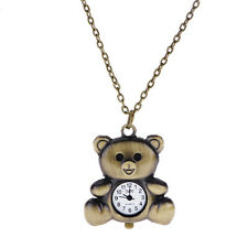 Classic Bronze Teddy Bear Pendant Necklace Quartz Watch Women Lady Girl Unisex